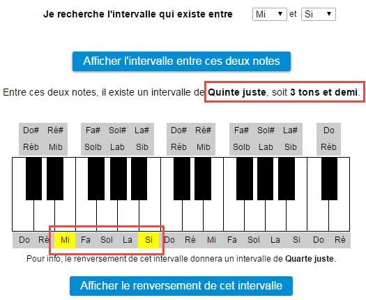Intervalle entre les notes Mi et Si