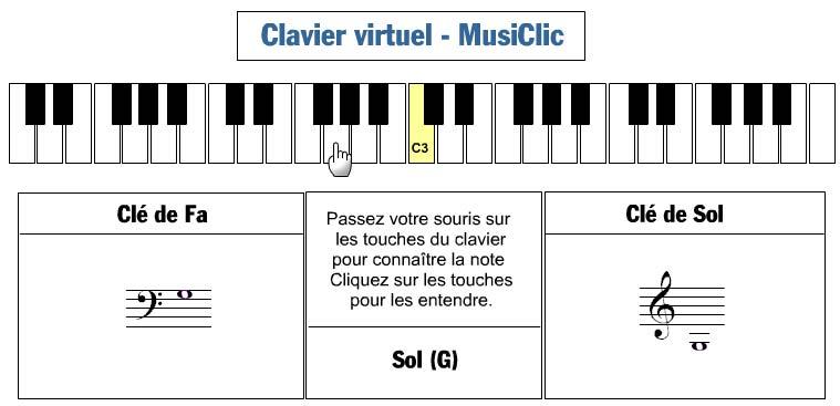 piano virtuel pour localiser les notes sur un clavier et. Black Bedroom Furniture Sets. Home Design Ideas